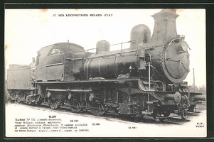 AK-Les-Locomotives-Belges-Etat-Machine-No-117-Dampflok